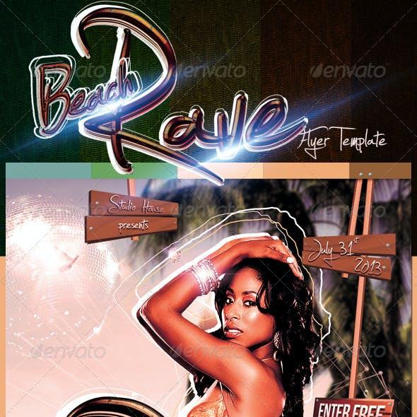 Beach Rave Party Flyer