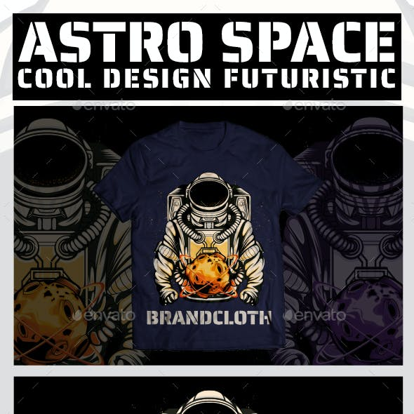 Illustration of Space Astronauts. T-shirt Design