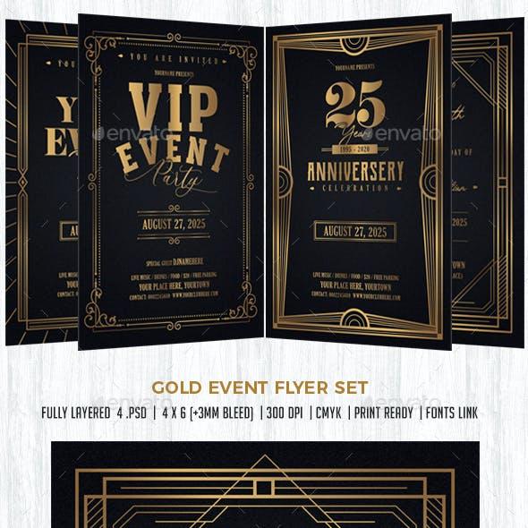 Gold Event Flyer Invitation Set