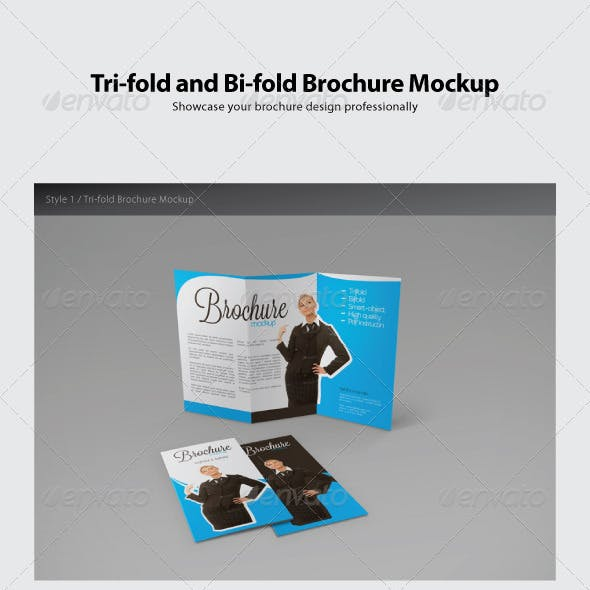 Trifold and Bifold Brochure Mockup