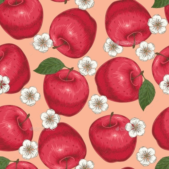 Seamless Pattern with Red Apples and Flowers - Flowers & Plants Nature