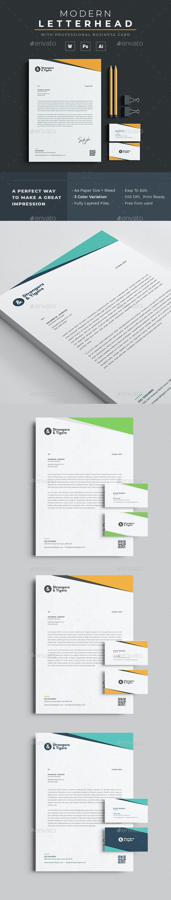 Letterhead / Business Card - Stationery Print Templates