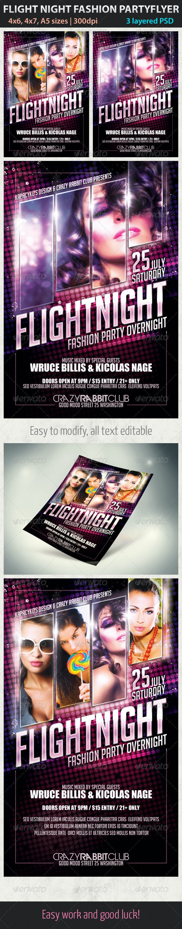 Flight Night Fashion Party Flyer - Clubs & Parties Events