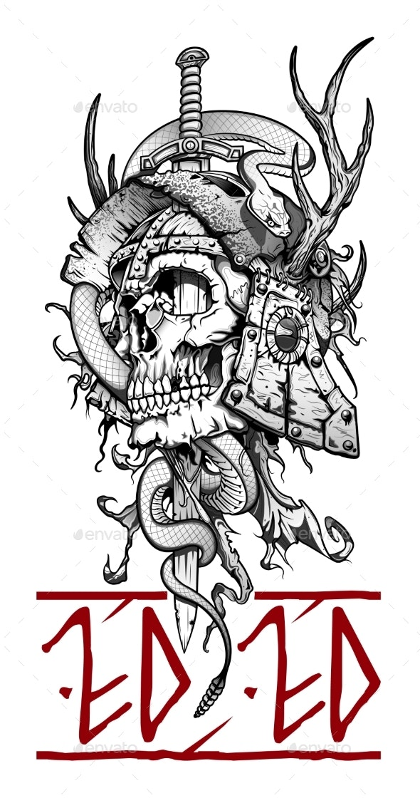 Viking Emblem Skull with Sword and Snake - Miscellaneous Vectors