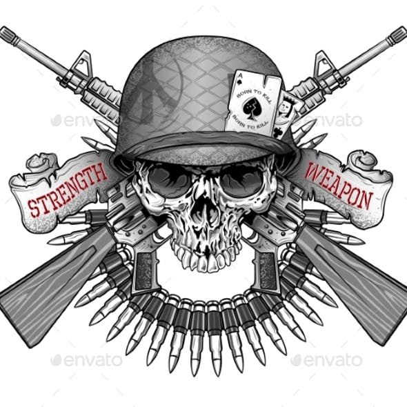 Skull Emblem in an Army Helmet with a Weapon