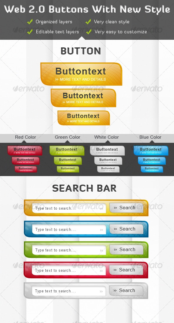 Web 2.0 Buttons With New Style and Search Bars - Web Elements