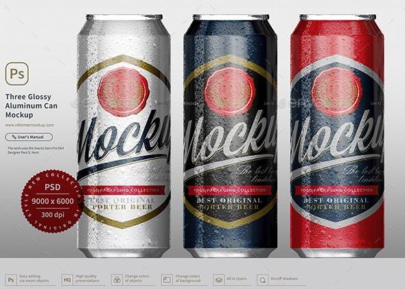 Three Glossy Aluminum Can Mockup - Product Mock-Ups Graphics