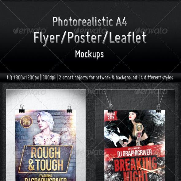 Photorealistic A4 Flyer/Poster/Leaflet Mockups