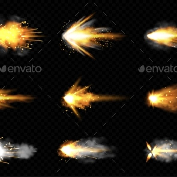 Realistic Set of Gun Shots with Fire and Smoke