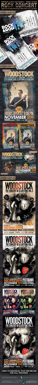 Rock Concert Premium Flyer Bundle PSD Templates - Concerts Events