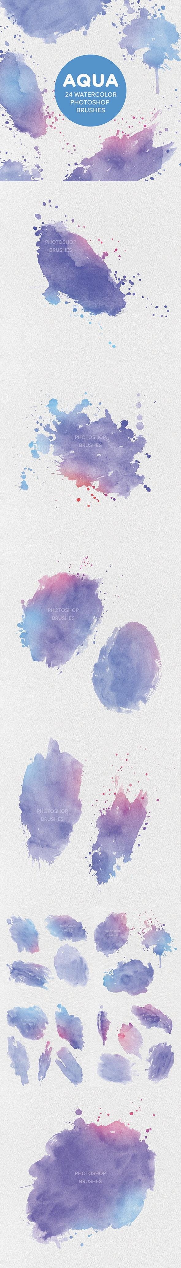Aqua 24 Watercolor Photoshop Brushes - Brushes Photoshop