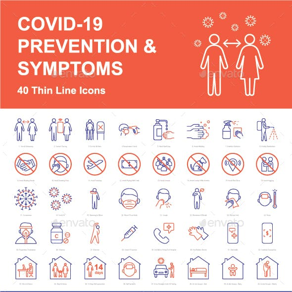 COVID-19 Prevention And Symptoms - 40 Thin Line Icons