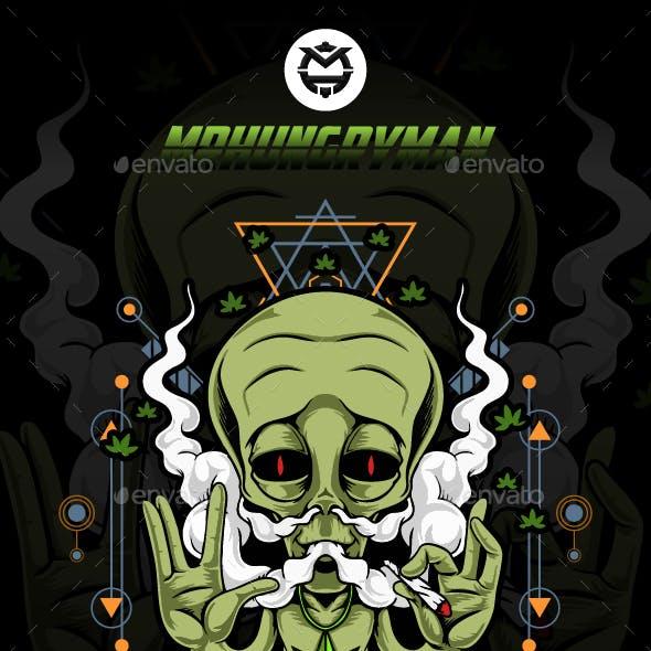 Alien Smoking Weed