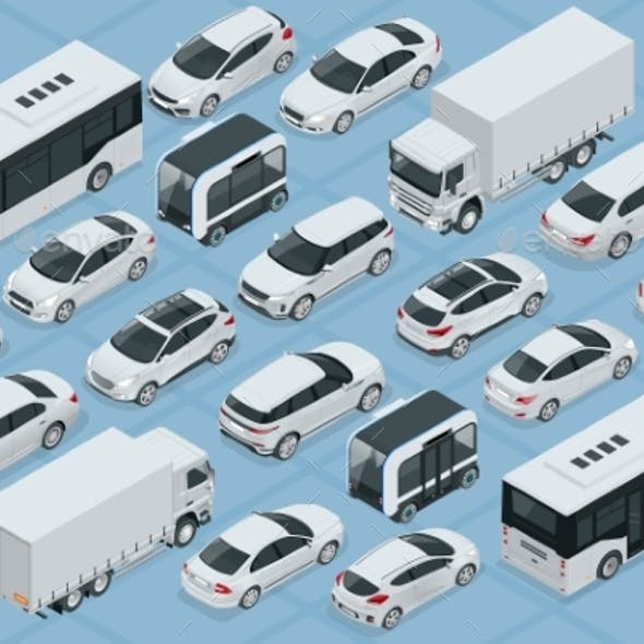 Flat 3d Isometric High Quality City Transport Car