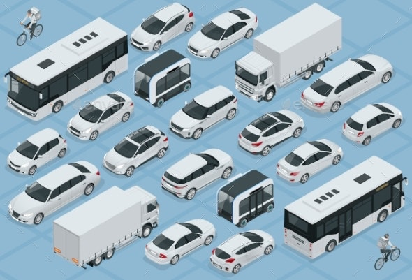 Flat 3d Isometric High Quality City Transport Car - Man-made Objects Objects