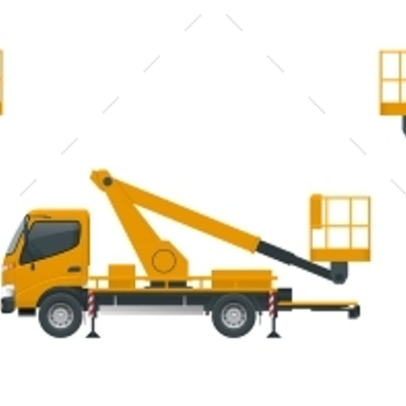 Yellow Engine Powered Scissor Lift Isolated on