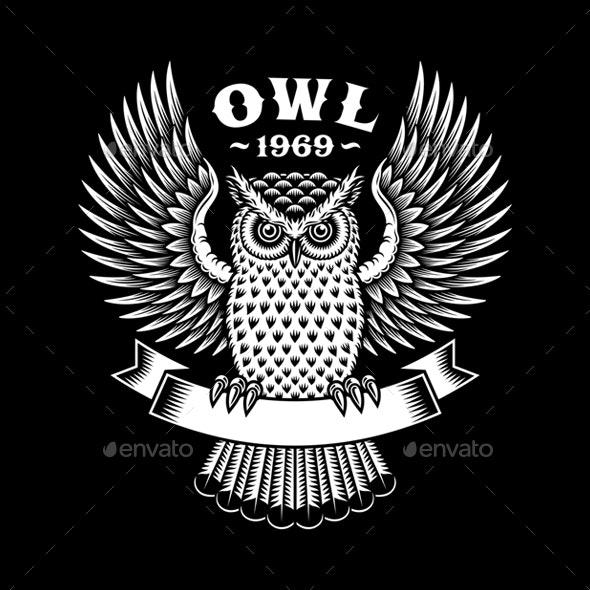 Owl Emblem On Black Background - Animals Characters