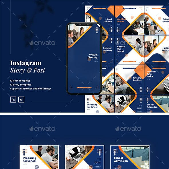 Education Instagram Ads Puzzle Template PSD & AI