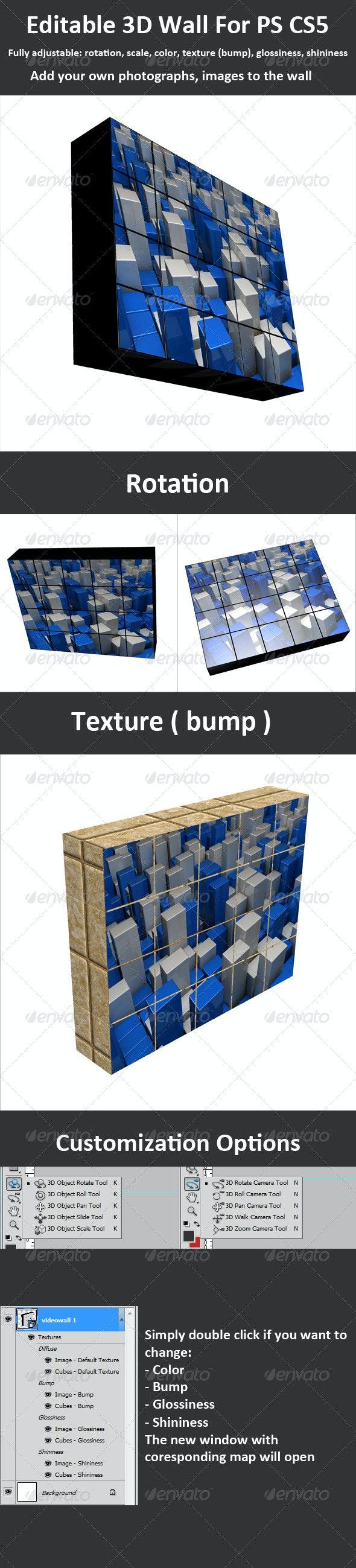 Editable 3D Wall for PS CS5, Full 3D Options - 3D Backgrounds