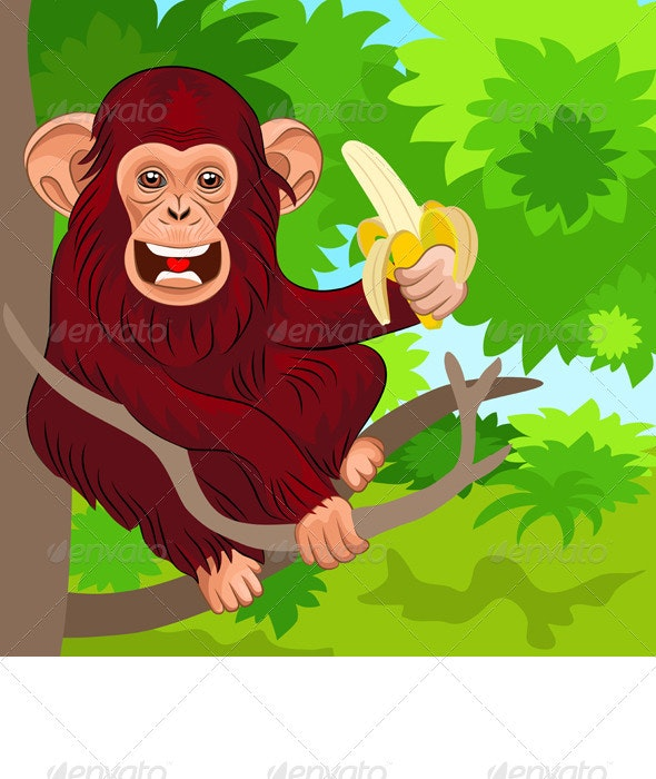 Vector Happy Monkey Chimp with Banana - Animals Characters