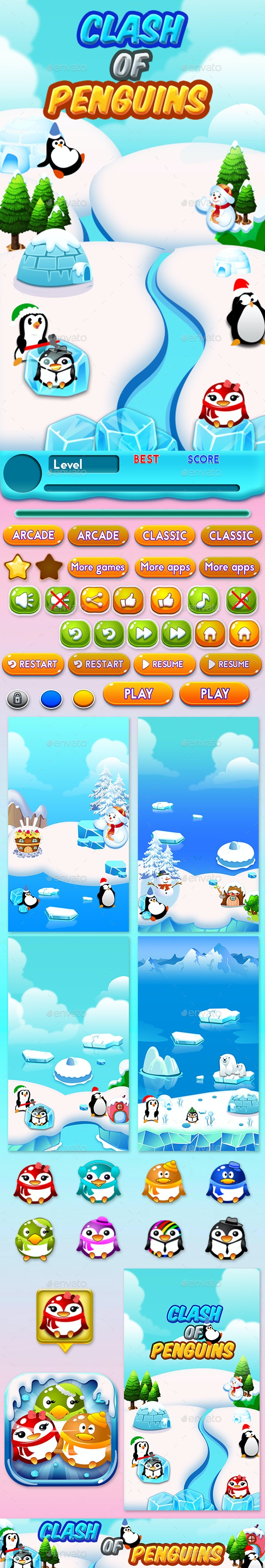 Match 3 Unity Asset Reskin: Penguins - Game Kits Game Assets