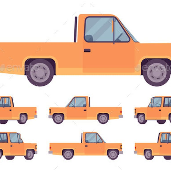 Pickup Truck Orange Set with Cab and Open Cargo
