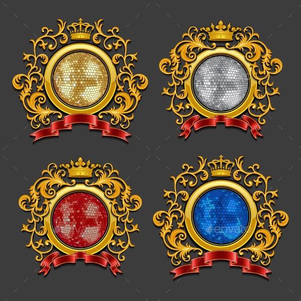 Set of Disco Balls. Coat of Arms. - Objects Vectors