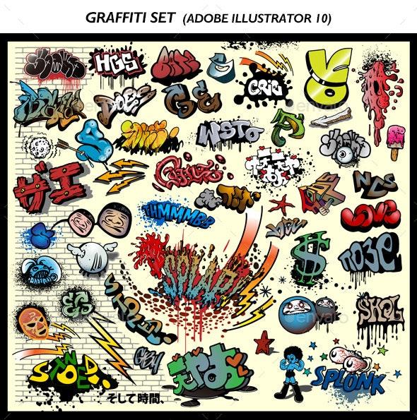 Graffiti Set Vector - Miscellaneous Characters