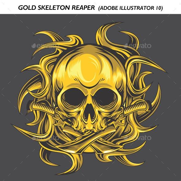 Gold Skeleton Reaper Vector