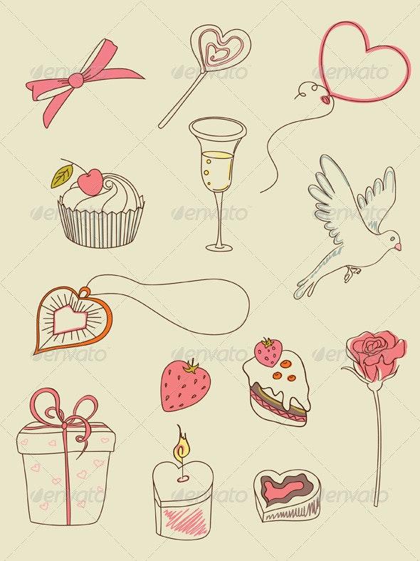 Doodle Valentine's Day Icons - Valentines Seasons/Holidays