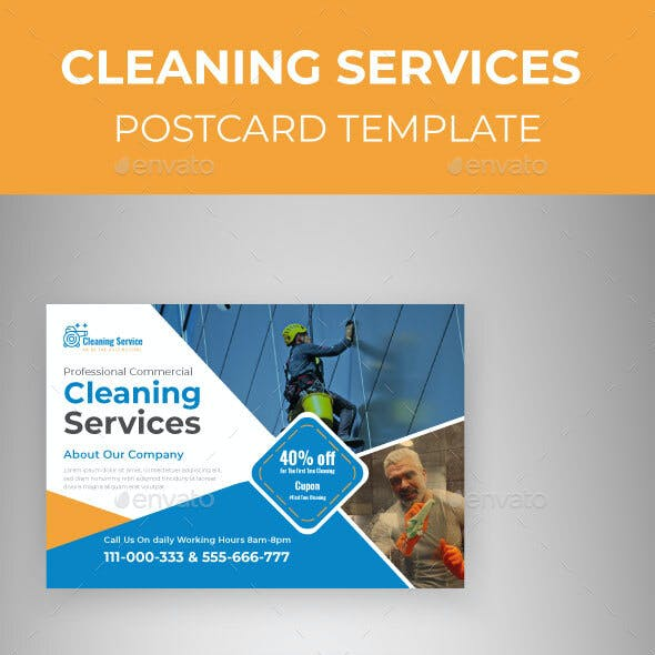 Cleaning Service Marketing Material Design Postcard