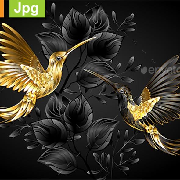 Black and Gold Hummingbirds