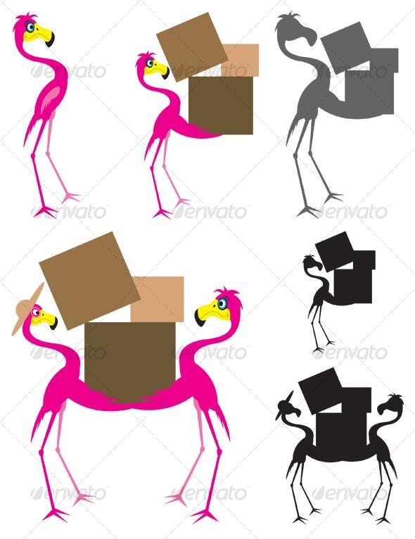 Six Flamingos - Characters Vectors