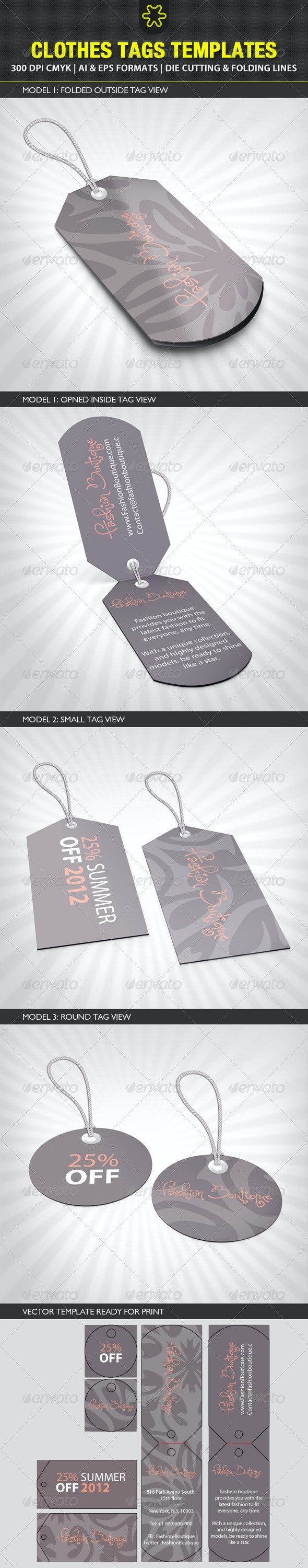 Clothes Tags Templates - Packaging Print Templates