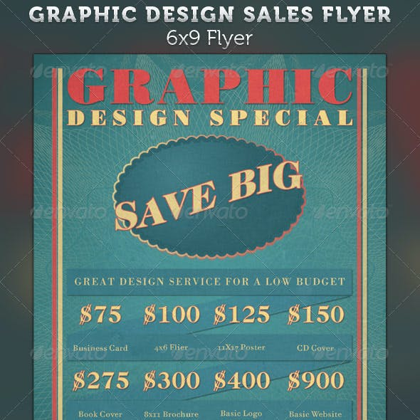Graphic Design Retro Style Sales Flyer Template