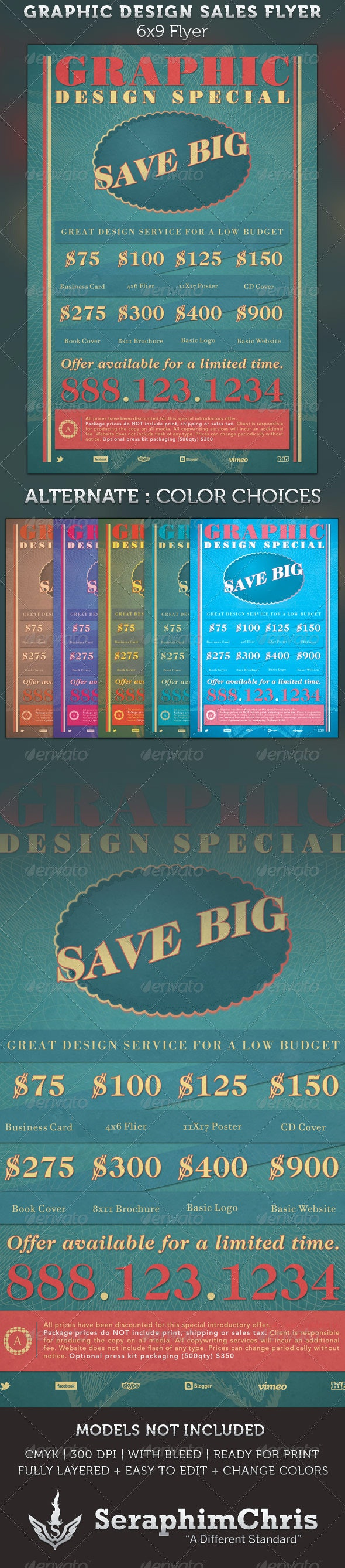Graphic Design Retro Style Sales Flyer Template - Commerce Flyers