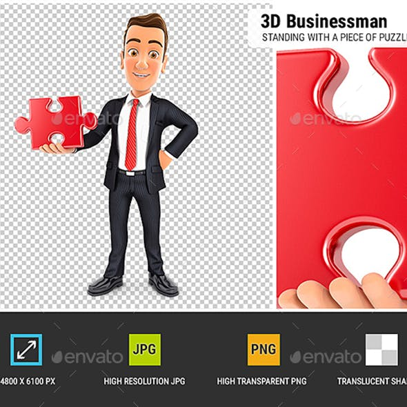 3D Businessman Standing with a Piece of Puzzle