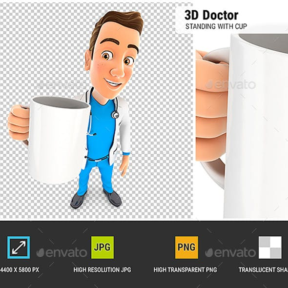 3D Doctor Standing with Cup