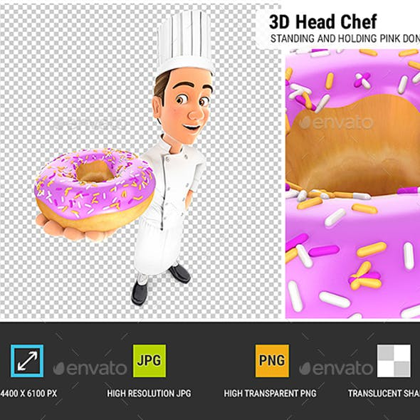 3D Head Chef Standing and Holding Pink Donut