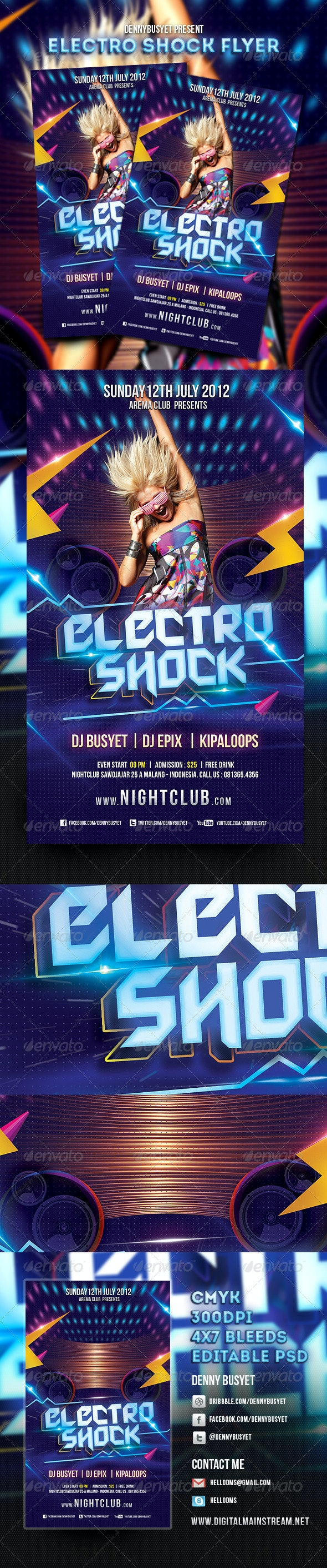 Electro Shock Flyer Template - Clubs & Parties Events