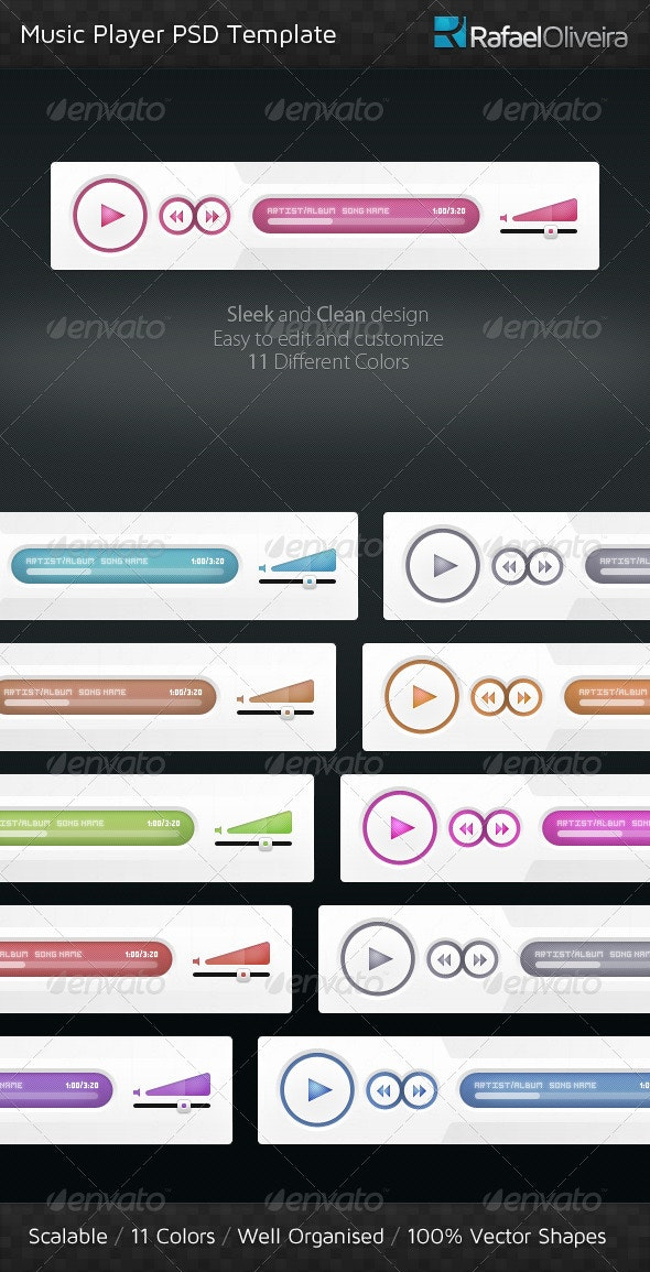 Music Player PSD Template - User Interfaces Web Elements