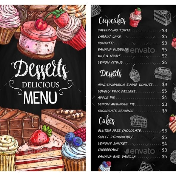 Desserts and Cakes Menu Chalkboard Sketch Vector