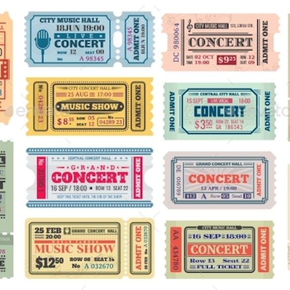 Music Concert Retro Tickets, Admits Templates Set
