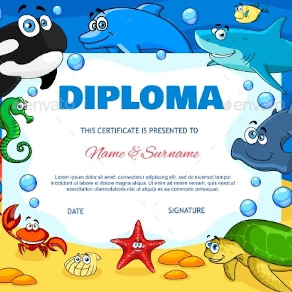 Education Diploma with Cartoon Underwater Animals