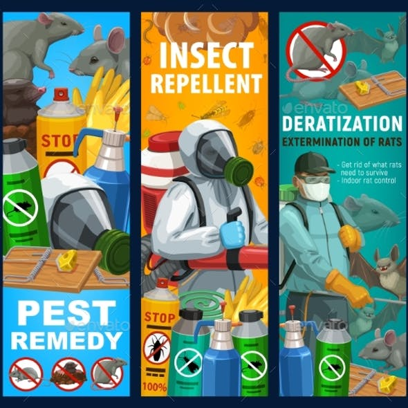 Pest Control Sanitary Service Vector Banners Set