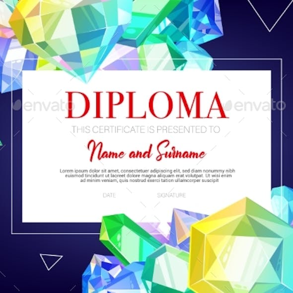 Kids Diploma Certificate, Crystals and Gems Jewels