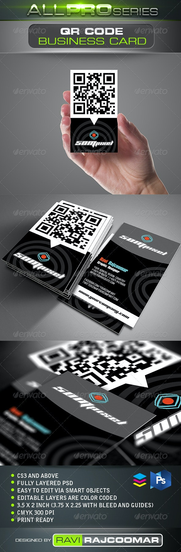 QR Code Business Card - Business Cards Print Templates