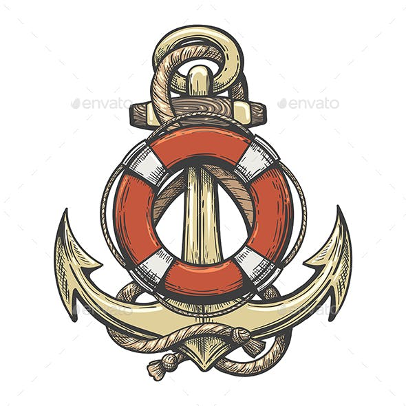 Ship Anchor and Lifebuoy Colorful Tattoo