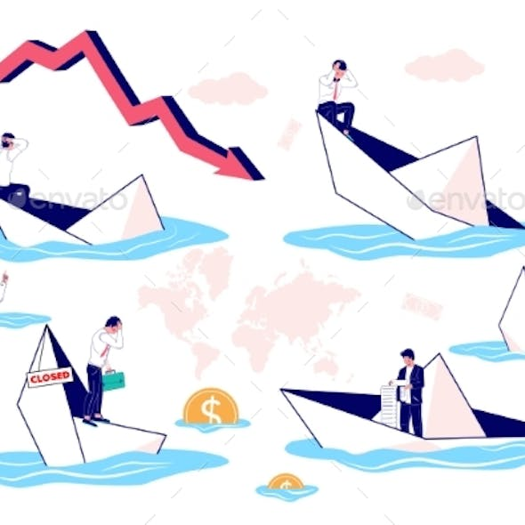 Businessman in Sinking Paper Boat Set, Vector Flat