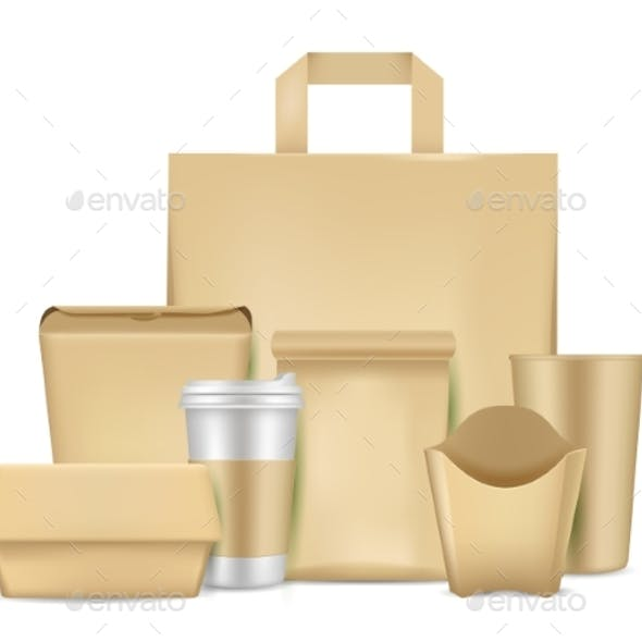 Eco Friendly Paper Package Set, Vector